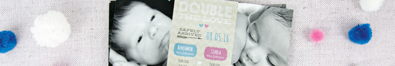 Twins Birth Announcement Cards